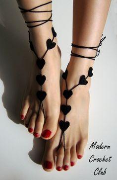 Barefoot Sandals Black Heart, Goth Valentine's Day gift. $19.00, via Etsy.