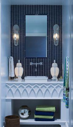 Bathroom Vanity Design in Blue Shades