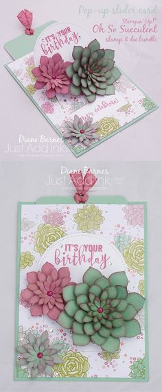 pop up slider fancy fold card using Stampin Up Oh So Succulent stamp & die bundle, Balloon Adventures stamp set, Stitched Shapes framelit dies & Succulent Garden paper. Card by Di Barnes #colourmehappy for Just Add Ink challenge #343 2017 Occasions/Spring Catalogue
