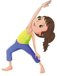 Cartoon Yoga Stock Photos And Images Yoga Images, Yoga Photos, Little Sport, Little Girls, Yoga For Kids, Art For Kids, Clipart, Theme Sport, Sports Clips