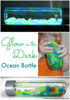 A glow in the dark ocean in a bottle! This summer themed discovery bottle glows in the dark, perfect to help kids calm down at night.