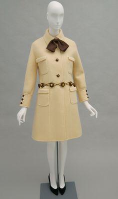 Woman's coat and belt | Designer: Valentino | Italy, 1968 | Coat: ecru fulled wool twill; brown silk faille. Belt: wood; gold-plated metal | Philadelphia Museum of Art