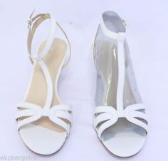 Nine-West-Womens-Shoes-Odarlin-T-Strap-Leather-Dress-Sandals-White-Size-10M-W435
