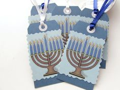 Hanukkah tags Gift tags Menorah tags Blue Holiday by Itsewbella