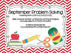 September Problem Solving Pack $ Kristen's Kindergarten www.kpoindexter.wordpress.com
