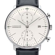 Mens Watches: Max Bill Chronoscope White Dial Watch w. Leather Strap Max Bill Designer Men's Watch Chronoscope White Bracelet Nato, Bracelet Cuir, Junghans Max Bill Chronoscope, Cool Watches, Watches For Men, Men's Watches, Wrist Watches, Amazing Watches, Fashion Watches