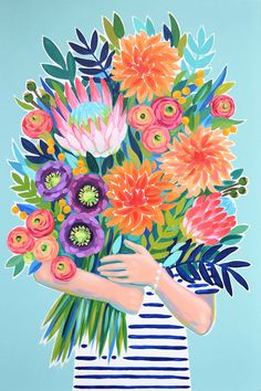 Craft With Conscience: Julie Marriott — Sarah K. Floral Illustrations, Illustration Art, Contemporary Embroidery, Art Mural, Diy Painting, Painting Inspiration, Flower Art, Watercolor Art, Art Drawings