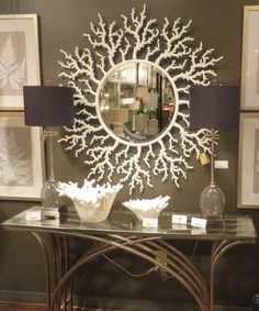 Coral Branches Sunburst Wall Mirror Gloss White Vanity ** Visit the image link more details. Large Round Mirror, Round Mirrors, Big Mirrors, Interior Design Living Room, Living Room Decor, Wall Mounted Mirror, Wall Mirror, White Vanity, Sunburst Mirror