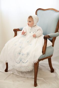 Christening/Blessing gown. White with blue por ClassyBabyCreations