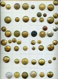 Card of 53 foreign uniform antique buttons..available in my ecrater store
