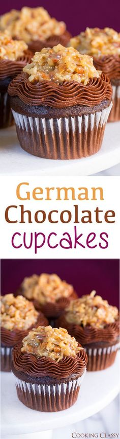 German Chocolate Cupcakes – these cupcakes are so dreamy! Loved everything about them! German Chocolate Cupcakes – these cupcakes are so dreamy! Loved everything about them! Baking Cupcakes, Yummy Cupcakes, Cupcake Cakes, Cupcake Ideas, Gourmet Cupcakes, Just Desserts, Delicious Desserts, Dessert Recipes, German Chocolate Cupcakes
