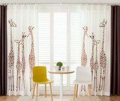 2016 New fashion Children Room Curtains Fawn green linen cartoon Giraffe Curtain Fabric cloth Printed SItting
