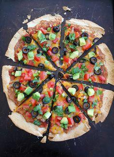 guardians-of-the-food:  Crispy Mexican Tortilla Pizza