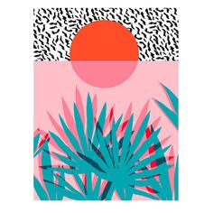 Wacka Whoa Tropical Plant A2 Framed Print: Abstract plant print by Wacka.  A unique print featuring a tropical plant and a setting sun.