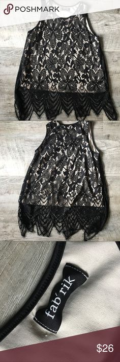 FABRIK Cream and Lace Tank - Large Love this tank and its Lace Detail...  worn once under a suit jacket.  Great with skinny leg pants/jeans Fabrik Tops