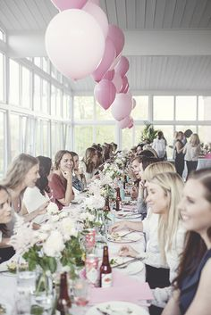 long table and balloons