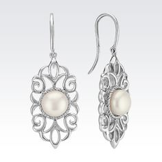 Lacy Freshwater Pearl Dangle Earrings in Sterling Silver from Shane Co.