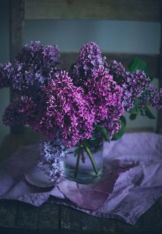 dark and moody lilacs cut in a vase. flowers give off such a powerful energy in photos like these