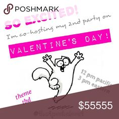 A Valentine's Day Posh Party! Yay! Come join me on Valentine's Day, 2-14-17, at 12pm pacific / 3pm eastern, as I co-host my 2nd Posh Party!  I'll be looking for possible Host Picks starting around the beginning of February, so, Like this listing to come back, and be sure to leave me a quick Comment, below, if you would like your Posh-compliant closet to be considered!   In the mean time, Happy Poshing! -XOXOXO Cindy Please Share! :) Other