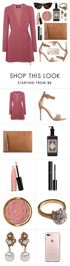"""Anastasia"" by sophiehackett ❤ liked on Polyvore featuring Reformation, Gianvito Rossi, Nine West, Tom Ford, Laura Geller, Chanel, Milani and Miriam Haskell"