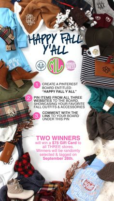 **HAPPY FALL Y'ALL GIVEAWAY** Follow the instructions to enter! Get creative & show us YOUR style! We'll select 2 WINNERS on September 28th that will each WIN a $75 Gift Card! Good luck!! #contest #giveaway #giftcard #marleylilly #happyfall #fall #itsfall #happyfallyall #favoriteseason #pumpkinspice
