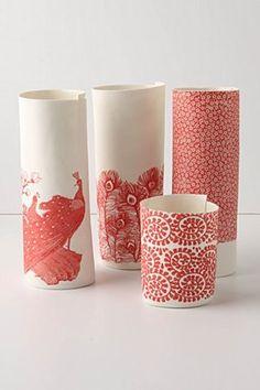 Red Vases: paper sketch vases, red
