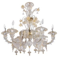 Murano Chandelier with 22k Gold Details