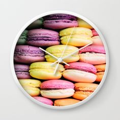 Macaroons Wall Clock by lescapricesdefilles Macaroons, Clock, Wall, Food, Macaroni, Watch, Macarons, Essen, Clocks