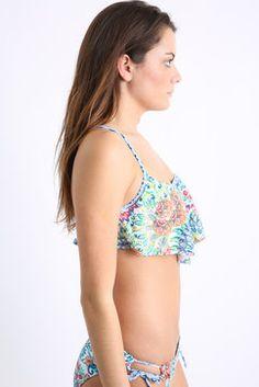 Profile Blush Peacock Floral D Cup Flounce Bikini Top in WHTM