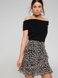 05547fe4cd90 Animal Print Ruffle Mini Skirt Winter Leopard - Portmans Online Leopard  Skirt, Winter Skirt,