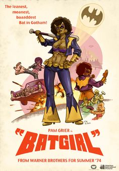 Illustrator Todd McArthur posted a cool poster of black cinema actress/icon Pam Grier as Bat Girl! The illustration spoofs Coffey as Bat Girl Batgirl, Batwoman, Comic Books Art, Comic Art, Humour Geek, Black Comics, Dc Comics, Foxy Brown, I Am Batman