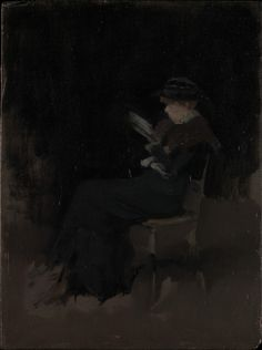 Books and Art: Arrangement in Black: Girl Reading (c.1880-1890)....