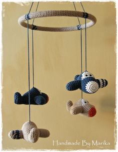 Baby crib mobile crochet airplanes - organic cotton - custom mobile - nursery decor on Etsy, $98.00