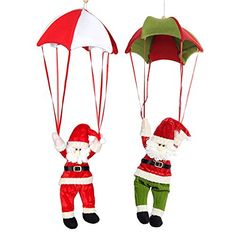Biowow 2 Pack Parachute Santa Claus Christmas Gift Decorations Red Green ** This is an Amazon Affiliate link. Check this awesome product by going to the link at the image.
