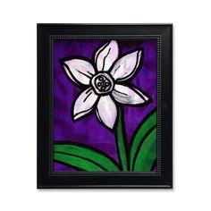 White Daffodil Print - Botanical Art Print - Purple White Green Wall Art Decor - Flower - with optional black mat Green Wall Decor, Green Wall Art, Wall Art Decor, Pink Tone, Mixed Media Artists, Botanical Art, Daffodils, Spring Flowers, Flower Art