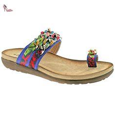 LADIES BOULEVARD TOE LOOP MULTI COLOURED FABRIC LINK SLIP ON SANDALS L9527C KD-UK 7 (EU 40) - Chaussures boulevard (*Partner-Link)