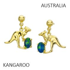 Kangaroo opal earrings from Australia | #opal #kangaroo #Australia #animal | available from http://www.australiaopal.com.au