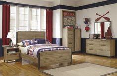Dexifield Contemporary Beige Brown Wood Master Bedroom Set