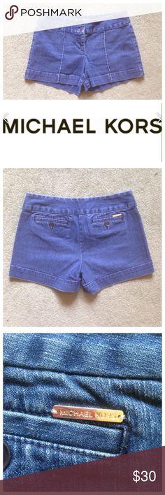 """Michael Kors Size 8 Denim Jean Shorts Excellent condition; Across waist - 15.5"""", Front rise - 9"""", Inseam - 4""""; Cotton, Spandex MICHAEL Michael Kors Shorts Jean Shorts"""