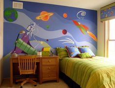 SPACE THEME ROOMS - We bought our house before our first child was even born and one of our first projects was painting a kids space room in our spare bedro Wall Murals Bedroom, Kids Wall Murals, Bedroom Themes, Kids Bedroom, Bedroom Decor, Bedroom Ideas, Kids Rooms, Bedroom Wallpaper, Bedroom Designs