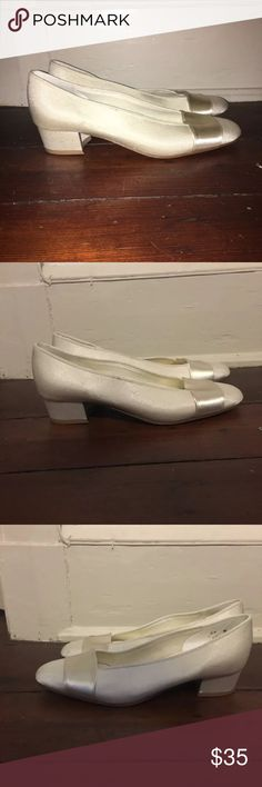 White satin heels size 6.5 Excellent condition Shoes Heels