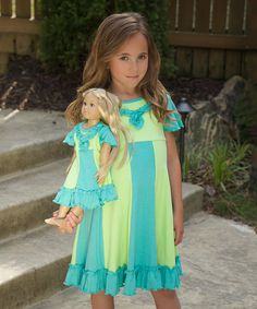 Lilli Lovebird Turquoise & Lime Sarah Dress & Doll Dress | zulily
