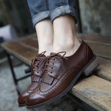 Teahoo 2017 Autumn Winter Oxford Shoes for Women Lace up Leather Shoes Woman Autumn Shoes Street Style Oxfords Women Brogues(China)