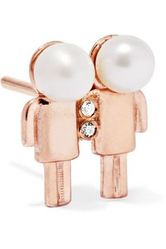 Aamaya By Priyanka - Gemini Rose Gold-plated, Faux Pearl And Cubic Zirconia Earring - One size