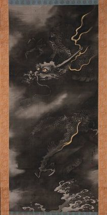 Dragon in the Clouds        Unryu zu      雲龍図        Japanese, Edo period, first half of the 19th century      Kano Tanshin Morimichi, Japanese, 1785–1835    Dimensions      Image: 124.7 x 53.9 cm (49 1/8 x 21 1/4 in.)   Medium or Technique      Hanging scroll; ink and gold pigment on silk  Classification      Paintings     Type      Hanging scroll  Catalogue Raisonné      KJM2-Kano-059  Accession Number      11.6553  Not on view