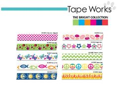 Tape Works (washi tape) Bright Collection.  Look for this at major retailers Summer 2013!