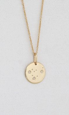 Gold pendant necklace engravable small round gold vermeil disk wear the zodiac necklace every day with or without people knowing your sign aloadofball Images