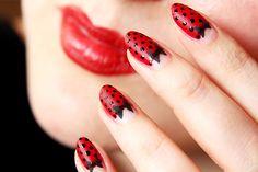 ! Miss von Xtravaganz !: Nagellack Rockabilly Nailart Tutorial Dots Bow Black Red Beautyblogger