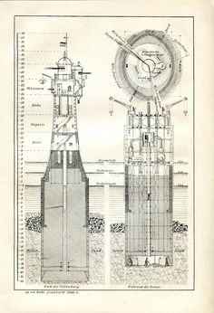1889 MARINE LIGHTHOUSE MODEL Antique Engraving Print PIERERS
