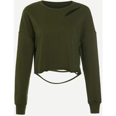 Army Green Drop Shoulder Distressed Crop Sweatshirt ($18) ❤ liked on Polyvore featuring tops, hoodies, sweatshirts, green, cropped hooded sweatshirt, green crop top, crop top, cropped sweatshirt and long sweatshirt